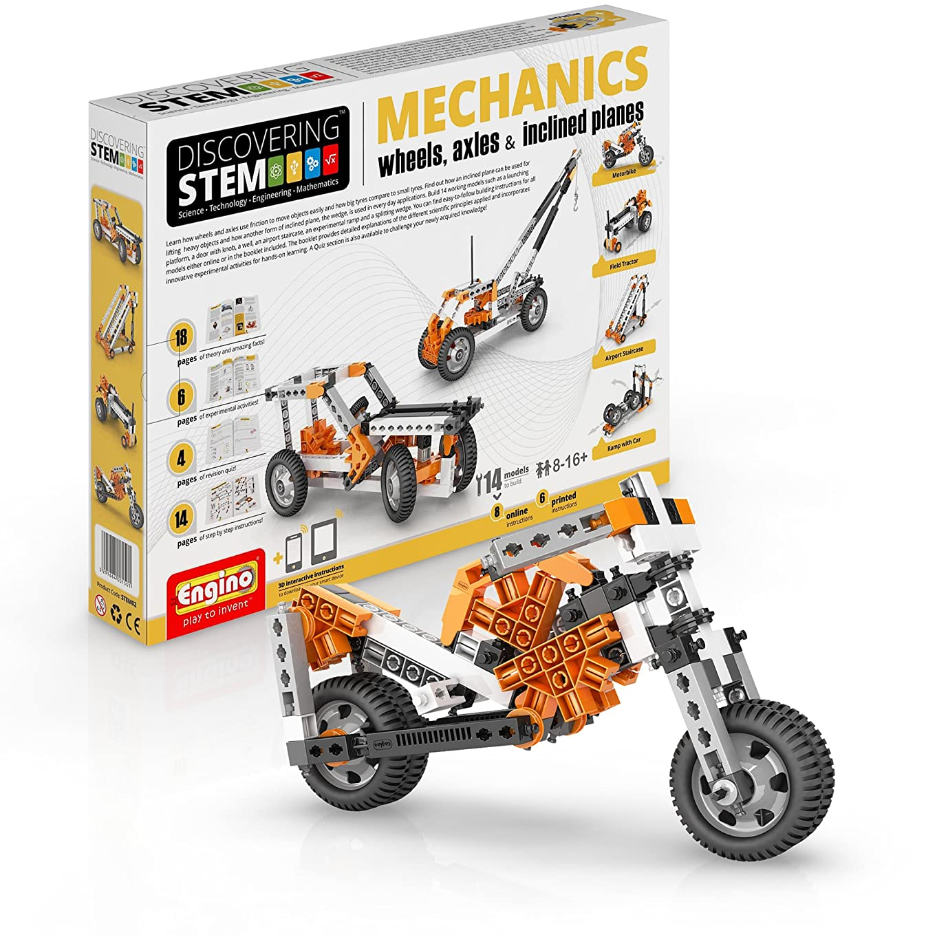 Engino Discovering STEM Mechanics Wheels, Axles and Inclined Planes | 14 Working Models | Illustrated Instruction Manual | Theory & Facts | Experimental Activities | STEM Construction Kit
