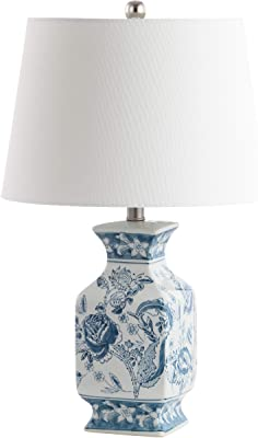 Safavieh Lighting Collection Mayson Blue/White Chinoiserie 24-inch Bedroom Living Room Home Office Desk Nightstand Table Lamp (LED Bulb Included)