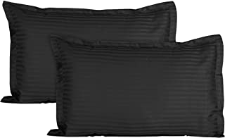 POSA Homes 100% Cotton Luxury Satin Soft Pillow Cover 18x27 inch Set of 2 - (18x27 inch, Black)