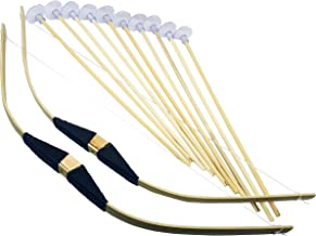 Adventure Awaits! - 2-Pack Handmade Wooden Bow and Arrow Set - 10 Wood Arrows with Suction Cups - for Indoor and Outdoor Play