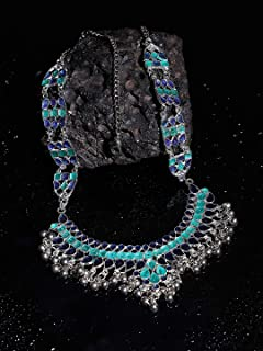 Crunchy Fashion Bollywood Traditional Indian/Bohemian Style Oxidized Silver Multi stand Necklace for Women/Girls