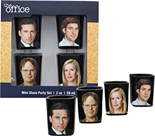 JUST FUNKY The Office Collectible Character Shot Glass Drinking Game   Features Michael, Jim, Dwight, & Angela   2 Ounce G...