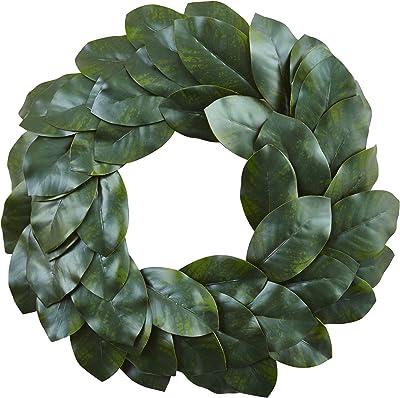 "Nearly Natural Magnolia Leaf Wreath, 24"", Green"