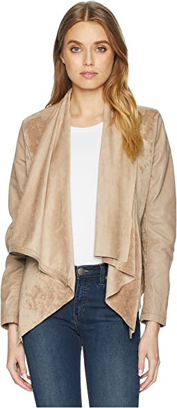 Faux Suede Drape Front Jacket in Hump Day