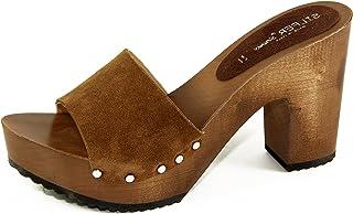 Silfer Shoes - Zoccolo in Vera Pelle di camoscio, Colore Cuoio Ideale Anche per Stare in casa