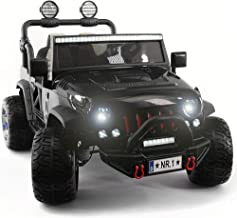 2019 Two (2) Seater Ride On Kids Truck w/ Remote Control | Large 12V Power Battery Licensed Kid Car to Drive w/ FM Radio, 3 Speeds, Leather Seat, Foam Rubber Tires - Carbon Black
