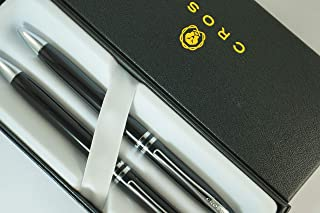 Cross Classic Executive Companion Avatar Black Lacquer and Extremely Polished Chrome Appointments with Distinctive Cross Special Signature Mid Rings, Pen and 0.7MM Pencil Set. A Great Gift