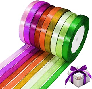 N\C Satinband 8 rullar, band presentband för pyssel, varje rulle 22 m x 10 mm/0,39 tum x 25 yard (färg slumpmässigt)