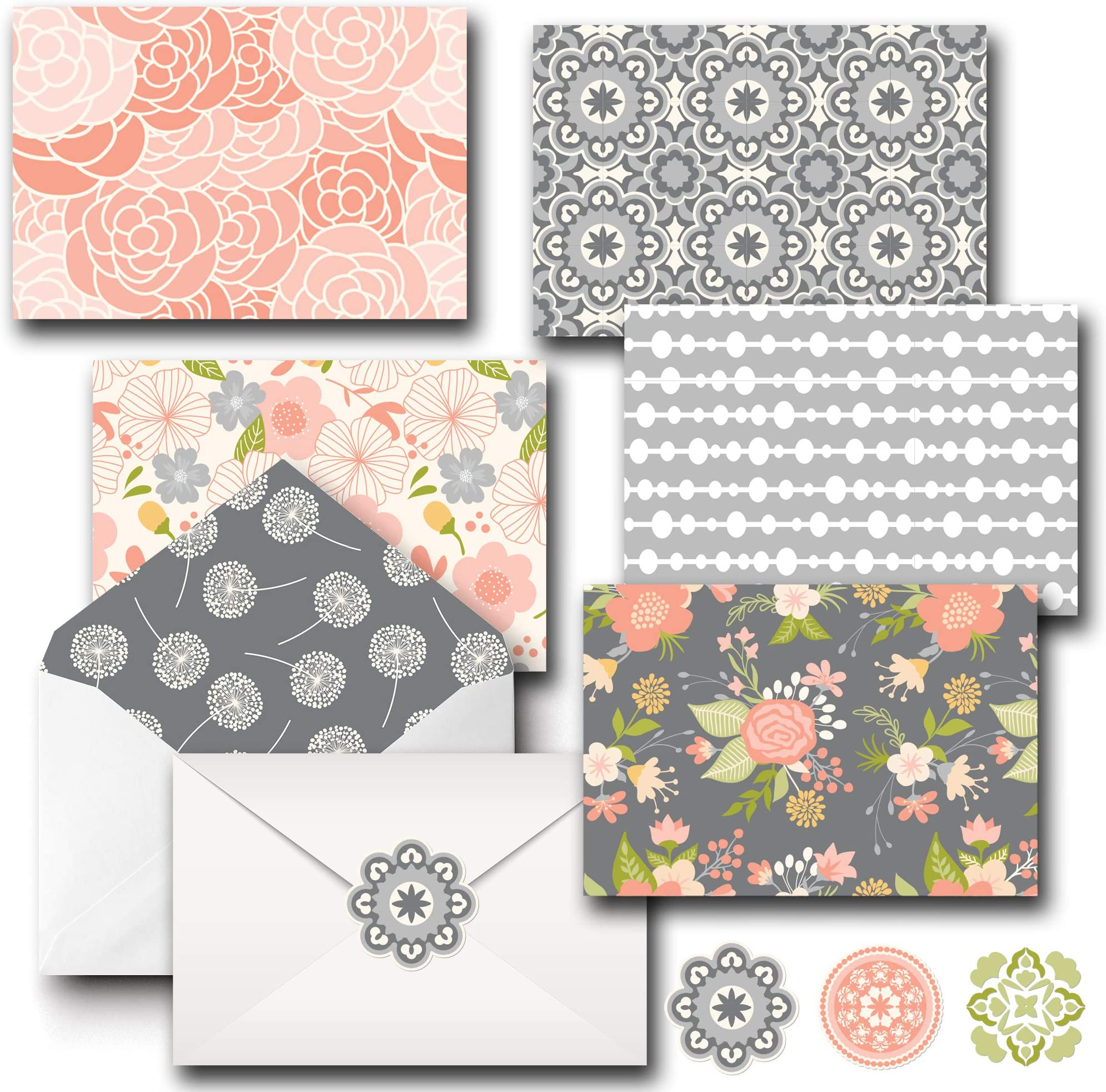 Floral Cards Enclosure Cards Set of 4 Note Cards Thank You Cards Stationery Pattern Note Cards Note Card Set Notecards