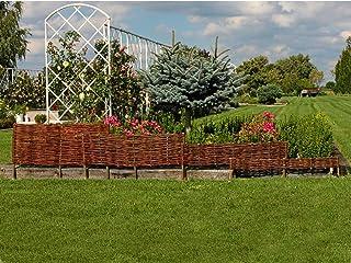 Cerca de borde de cama de jardín de mimbre - 20 cm de alto - Hecho en la UE - 100 cm de longitud