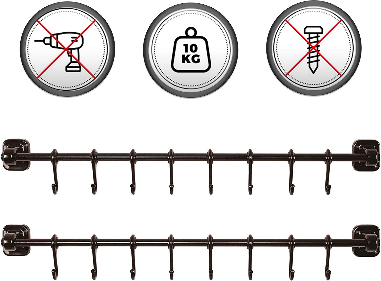 2-Pack Kitchen Max 64% OFF Ranking integrated 1st place Rail Utensil Rack Hooks Hanging Ra Sliding