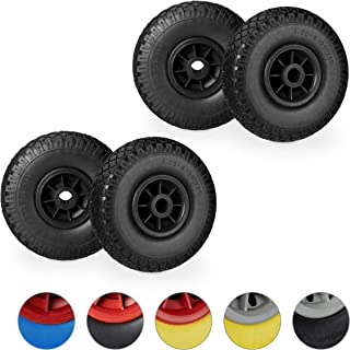 """4 x steekwagenwiel in set, antilek 3.00-4"""" rubberband, 25mm as, tot 80 kg, 260x85 mm, zwart"""