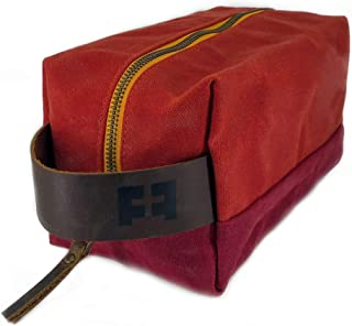 the DOPP KIT | durable waxed cotton canvas men's and women's travel toiletry and makeup bag with leather handle (CampFire)