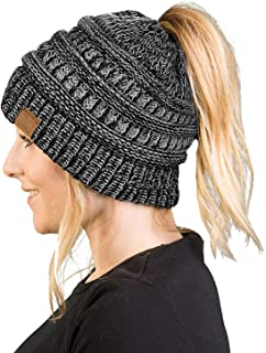 68662818b54 Funky Junque Women s Beanie Ponytail Messy Bun BeanieTail Multi Color  Ribbed Hat Cap