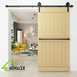 Homacer Sliding Barn Door Hardware Standard Single Door Kit, 5FT Flat Track Black Wheel Design Roller, Black Rustic Heavy Duty Interior Exterior Use