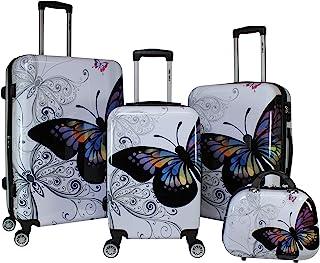 World Traveler 4-Piece Hardside Upright Spinner Luggage Set, Butterfly, One Size
