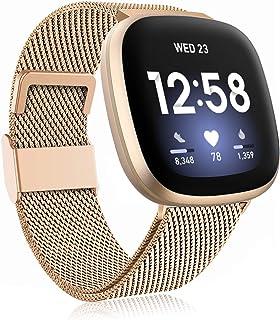 Funbiz Metaal Bandje Compatibel met Fitbit Versa 3 Bandjes/Fitbit Sense Bandje, Roestvrijstalen Metaal Vervangende Polsban...