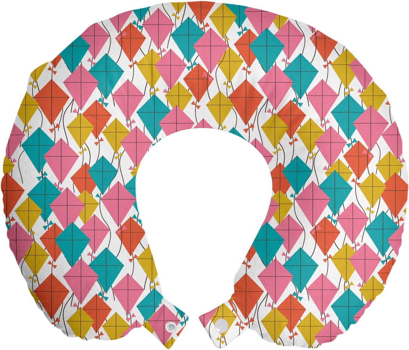 Ambesonne unisex Kites Travel Pillow Neck Finally popular brand Colorful Geometric Kite Rest