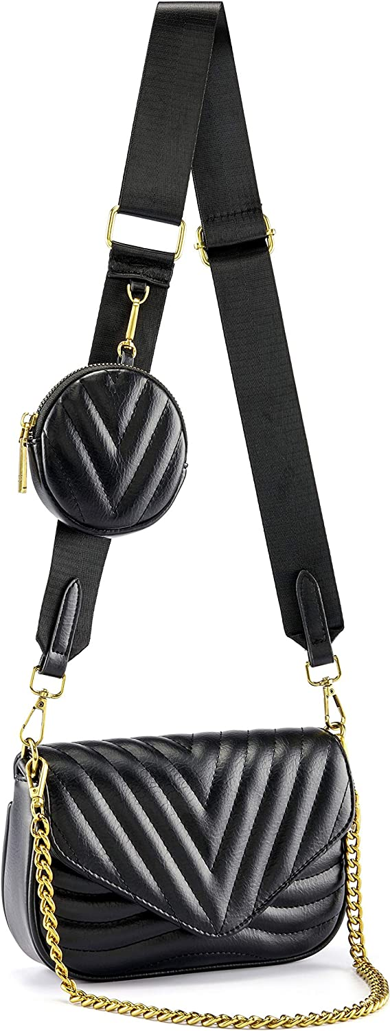 CHIC DIARY Crossbody Bag for Women Multipurpose Clutch Purse Shoulder Handbag with Coin Purse and Chain