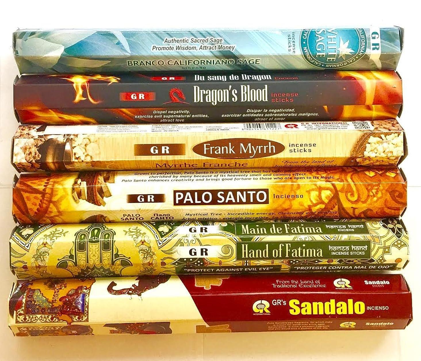 通行人召集するムスタチオGR Incense Sticks Best Sellers 6ボックスX 20スティック、Variety Pack ( # 2?)