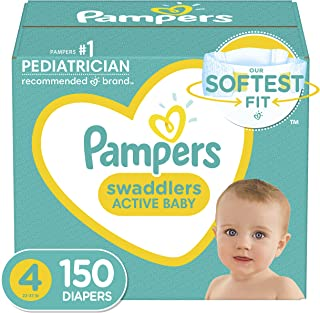 Baby Diapers Size 4, 150 Count - Pampers Swaddlers, ONE MONTH SUPPLY (Packaging and Prints on Diapers May Vary)