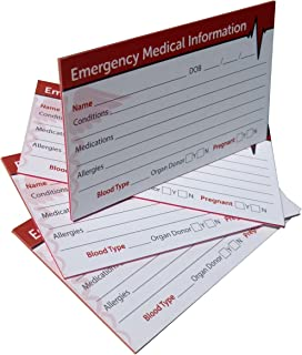 Emergency Medical Information ID Card (4 Pack) Triple-layered 38 Pt Card Stock