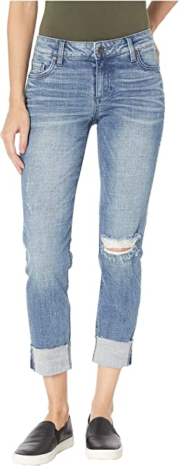 Catherine Boyfriend Wide Cuff Jeans w/ Raw Hem in Suffused w/ Medium Base Wash