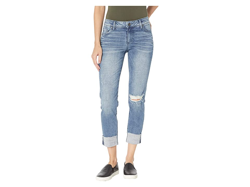KUT from the Kloth Catherine Boyfriend Wide Cuff Jeans w/ Raw Hem in Suffused w/ Medium Base Wash (Suffused w/ Medium Base Wash) Women