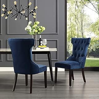 InspiredHome Navy Velvet Dining Chair - Design: Alexa | Set of 2 | Wingback | Button Tufted Design