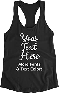 Hot4TShirts Customized Tank Tops for Women — Personalized Custom Text Racerback Tanks for Gifts, Bachelorette Parties, Events