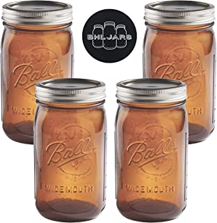 Ball Mason Jars 32 oz Wide Mouth Amber Colored Glass Bundle with Non Slip Jar Opener- Set of 4 Quart Size Mason Jars - Canning Glass Jars with Lids