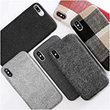 Mixneer Compatible for iPhone XR Case, Cloth Texture Soft TPU case Ultra-Thin Canvas Cases Canvas Fiber Matte Frosted Soft TPU Silicone Case for Apple iPhone XR - Style 6