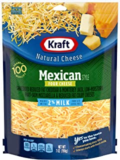 Kraft Shredded 2% Milk Reduced Fat Mexican Style Four Cheese Blend, 7 oz Bag
