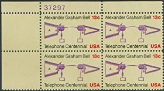 ALEXANDER GRAHAM BELL ~ TELEPHONE #1683 Plate Block of 4 x 13 cents US Postage Stamps