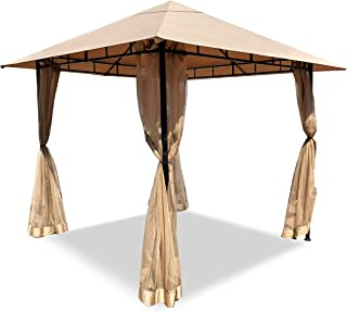 DikaSun Gazebos for Patios Single Roof Gazebo with Curtains, Outdoor Shade Canopy Gazebo with Adjustable Top Corner Tubes ...