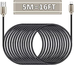 16FT Charger Cable,5M Nylon Braided Super-long Charger Cord USB Cable with Zinc Alloy Connector Compatible with Phone 11/11Pro/11ProMax/Xs/Max/XR/X/8/8Plus/7/7Plus/6S/6SPlus/5/5S/5C/SE/Pad/Pod (Black)