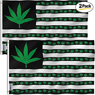 Anley Pack of 2 Fly Breeze 3x5 Foot Marijuana Leaf USA Polyester Flag - Vivid Color and UV Fade Resistant - Canvas Header and Double Stitched - US Marijuana Leaves Flags with Brass Grommets 3 X 5 Ft