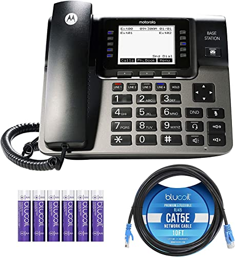 popular Motorola ML1000 DECT 6.0 Expandable 4-Line Business Phone System with Voicemail and Digital Answering System Bundle with Blucoil 10-FT 1 Gbps high quality Cat5e Cable, new arrival and 6 AAA Batteries outlet online sale