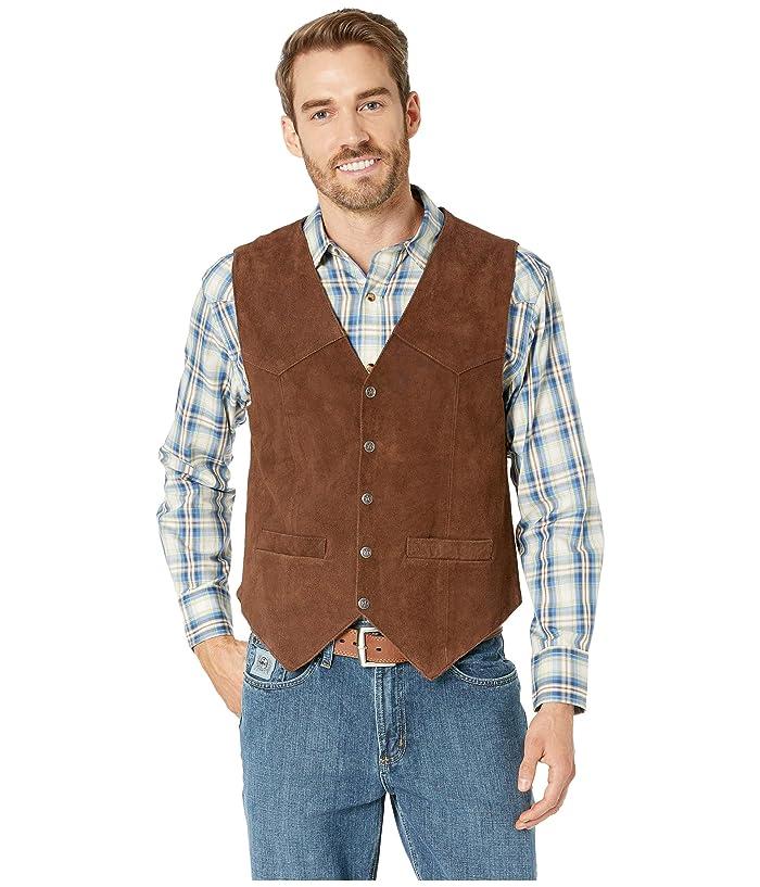 70s Jackets & Hippie Vests, Ponchos Scully Rugged Calf Suede Vest Dark Brown Mens Vest $47.99 AT vintagedancer.com