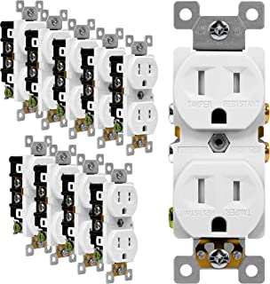 ENERLITES Duplex Receptacle Outlet, Tamper-Resistant, Residential Grade, 3-Wire, Self-Grounding, 2-Pole,15A 125V, UL Listed, 61580-TR-W-10PCS, White (10 Pack)