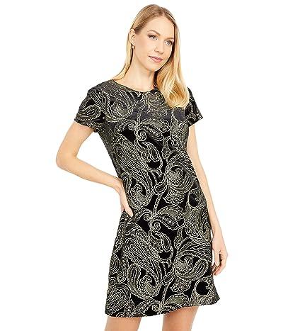 Calvin Klein Short Sleeve Patterned Velvet Dress (Black/Gold) Women
