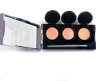 Concealer Palette, Waterproof Concealer, Full Coverage Cream, 3 Colors + Brush, by Dermaflage 6.9g/.24 oz