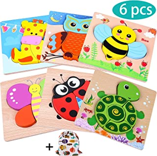 INNOCHEER Wooden Animal Jigsaw Puzzles for Toddlers 1 2 3 4 Years Old, Educational Toys Gift with 6 Pcs Chunky Bright Vibrant Color Shapes Lovely Animal, Extra Drawstring Bag for Easy Storage