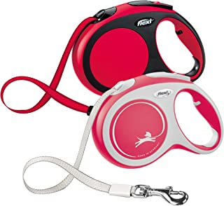 Flexi New Comfort Retractable Dog Leash (Tape), 16 ft, Large, Red