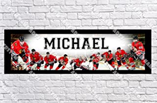 Personalized Chicago Blackhawk Banner - Includes Color Border Mat, With Your Name On It, Party Door Poster, Room Art Decoration - Customize