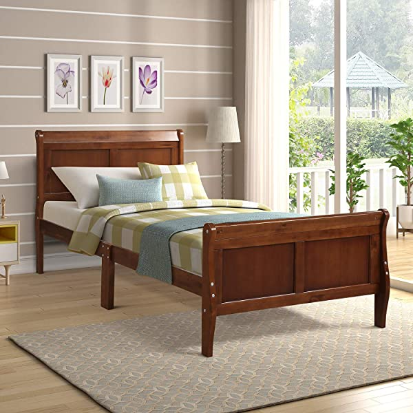 P PURLOVE Platform Bed Wood Twin Bed Frame Mattress Foundation Sleigh Bed With Headboard Footboard Wood Slat Support Walnut