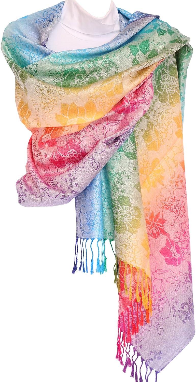 Cream KMystic Colorful Silk Pashmina Scarf Shawl Wrap