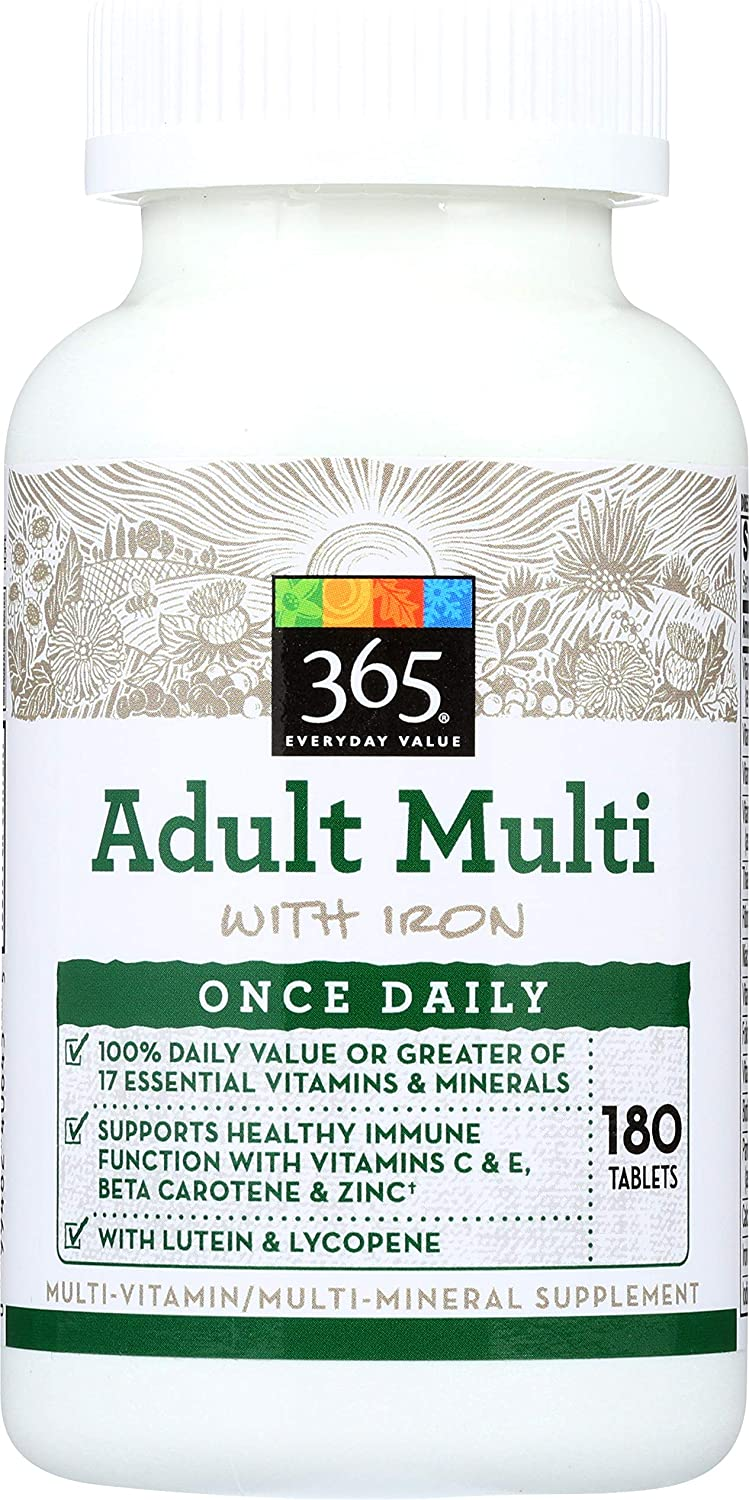 365 by WFM, Multi Adult With Lutein Lycopene One Daily, 180 Tablets: Health & Personal Care