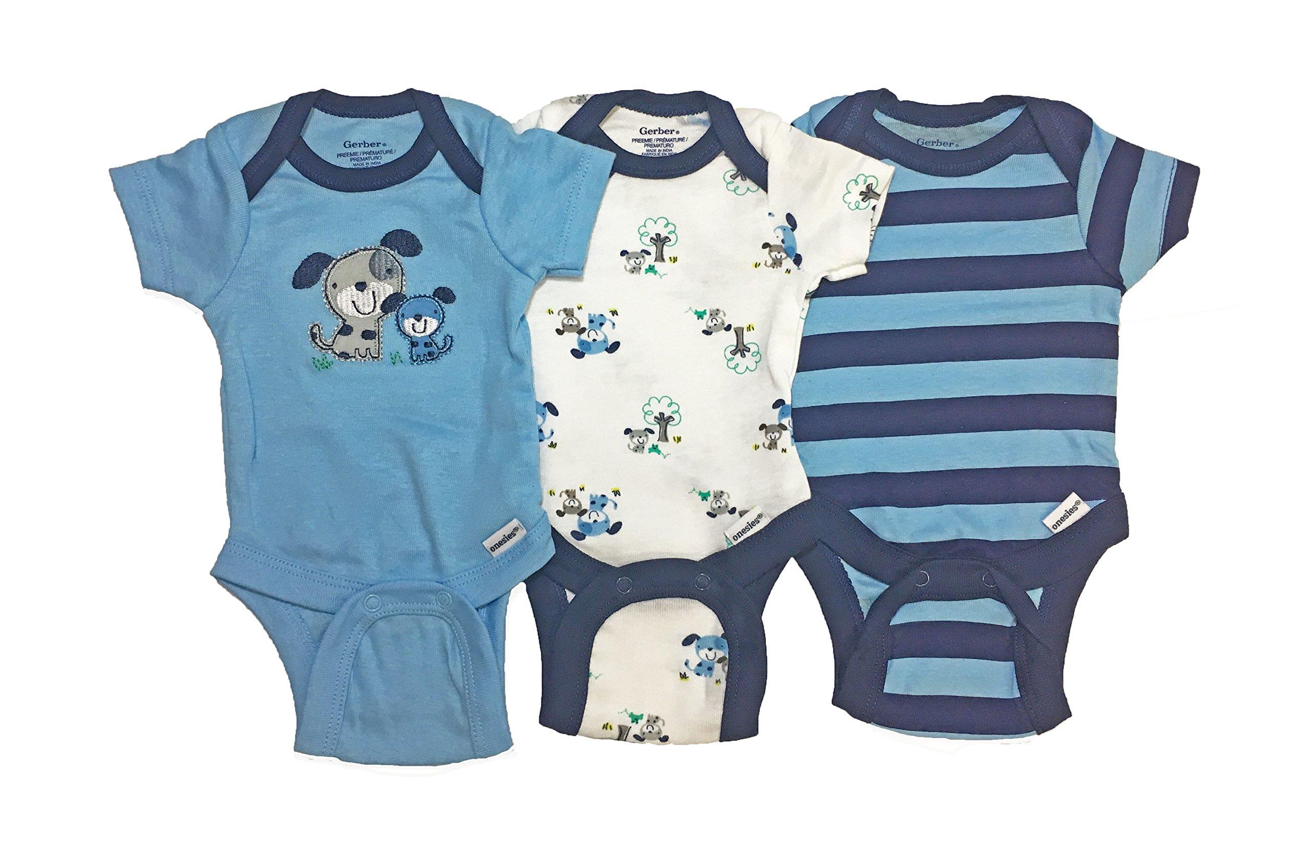 ガーバーの男の子3枚半袖レオタードにもブランドボディの服青い犬は12ヶ月