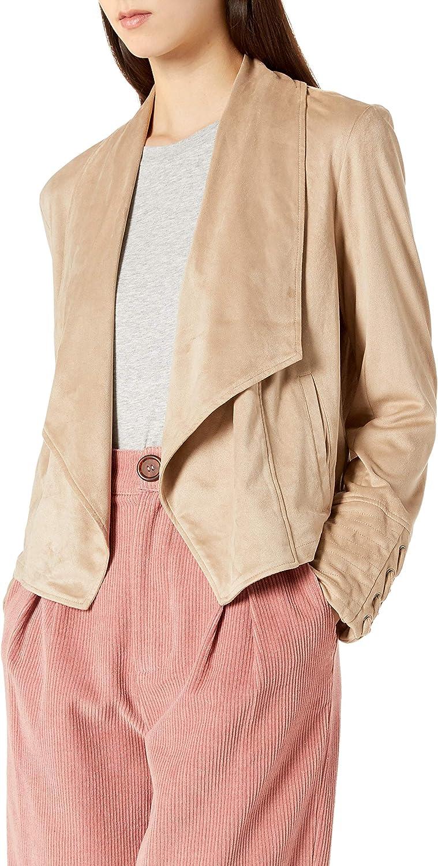 JACK Women's Flip The Stitch Drape Front Faux Suede Jacket
